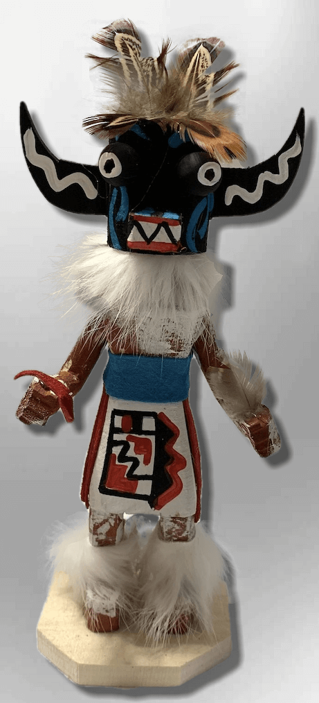 Handmade Painted Aspen Wood Six 6'' Inch Black Ogre Kachina Doll - Kachina City
