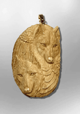 Bone Carved Handmade two Wolf Heads with Feather and Claw Round Oval Shape Curved Back No Paint Detailed Pendant