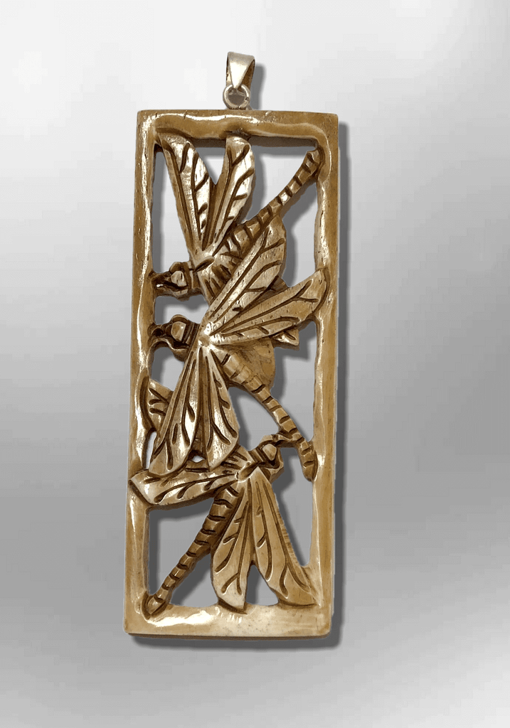 Handmade Bone Carved Long Hollow Rectangle Three Dragonfly No Paint Detailed Pendant - Kachina City