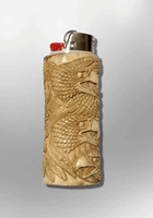 Bone Carved Handmade Eagle Head with Feathers Large Bic No Paint Detailed Lighter Case Cover - Kachina City