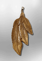 Bone Carved Handmade 3 Three different dangling Feathers Flat Back No Paint Detailed Pendant - Kachina City