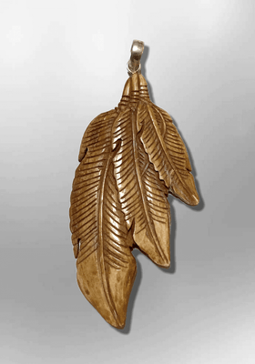 Bone Carved Handmade 3 Three different dangling Feathers Flat Back No Paint Detailed Pendant