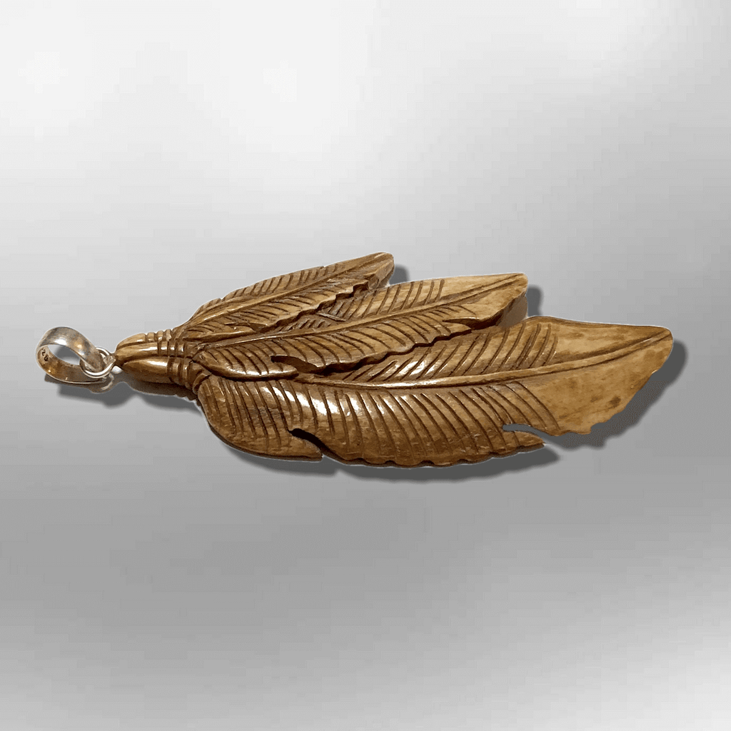 Bone Carved Feather Pendants