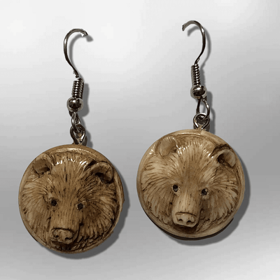 Bone Carved Round Bear Head No Paint Handmade Detailed Hook Dangle Earrings