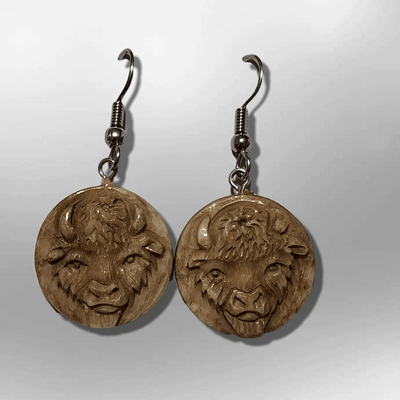 Bone Carved Round Buffalo Head No Paint Handmade Detailed Hook Dangle Earrings