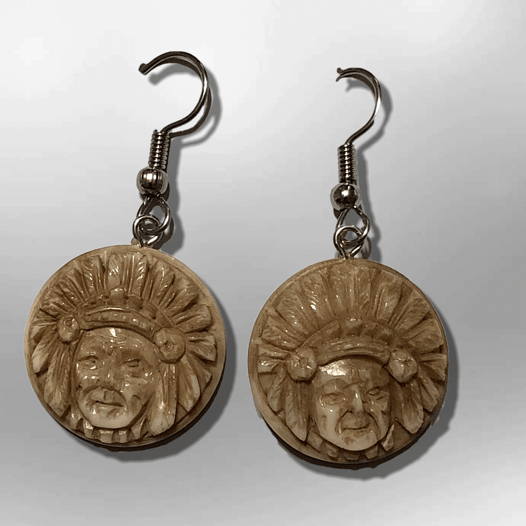 Bone Carved Round Indian Chief Head No Paint Handmade Detailed Hook Dangle Earrings - Kachina City