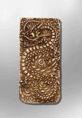 Stainless Steel Bone Carved Handmade No Paint Full Dragon Body Detailed Money Clip
