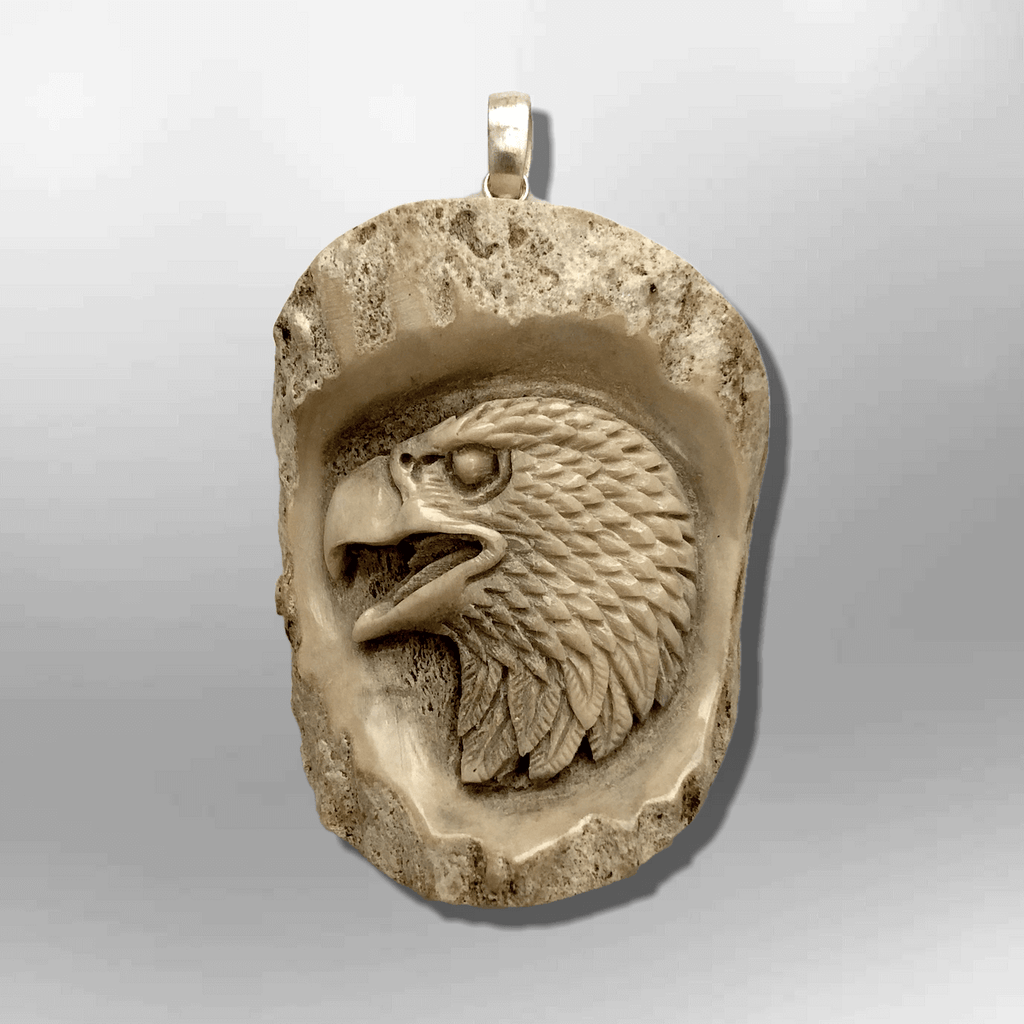 Bone Carved Handmade No Paint Eagle Head Oval Flat Back Detailed Pendant - Kachina City