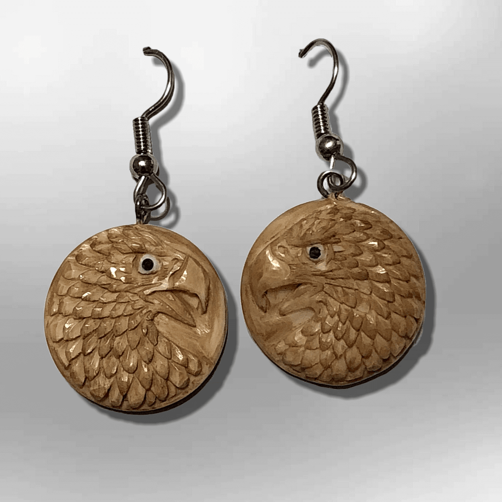 Bone Carved Round Eagle Head No Paint Handmade Detailed Hook Dangle Earrings - Kachina City