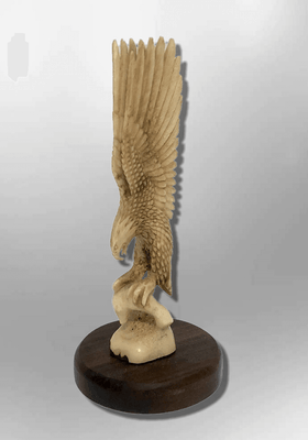 Handmade Bone Carved Full Landing Eagle Full Body No Paint Feather Detailed with Wood Base Table Fetish