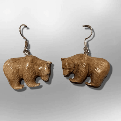 Bone Carved Eating Full Bear Body No Paint Handmade Detailed Hook Dangle Earrings