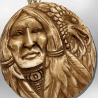 Bone Carved Handmade Indian Head with Eagle Head Feather Round Circular Shape Curved Back No Paint Detailed Pendant - Kachina City