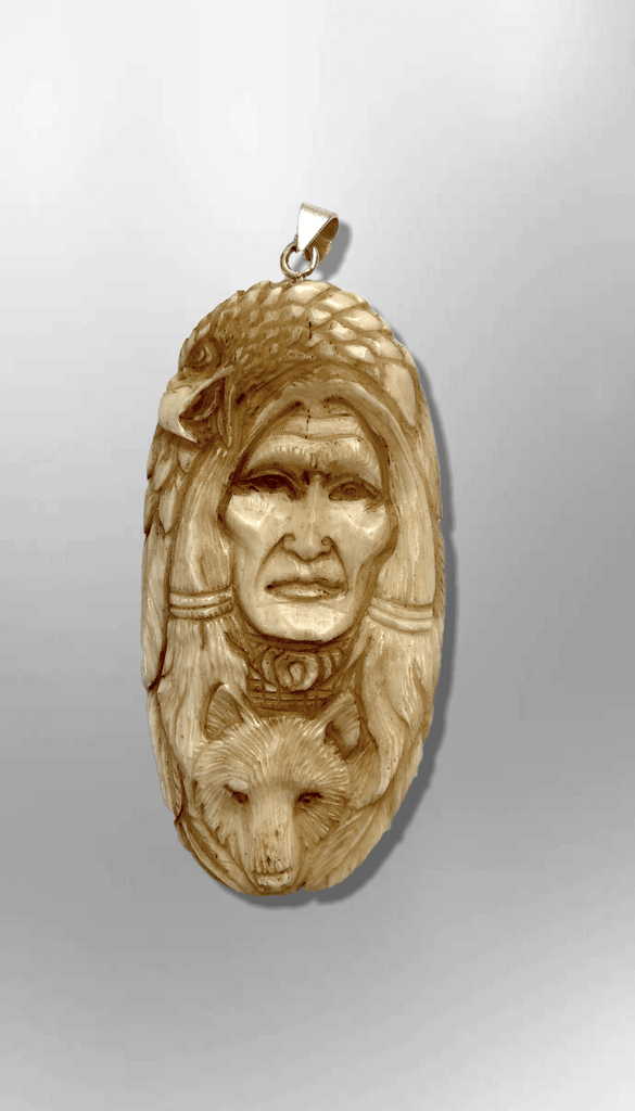 Handmade Bone Carved Indian Head with Eagle Head and Wolf Head Feather Long Oval Shape Curved Back No Paint Detailed Pendant - Kachina City