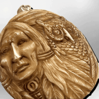 Bone Carved Handmade Indian Head with Owl Feather Round Circular Shape Curved Back No Paint Detailed Pendant - Kachina City