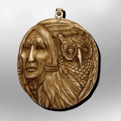 Bone Carved Handmade Indian Head with Owl Feather Round Circular Shape Curved Back No Paint Detailed Pendant
