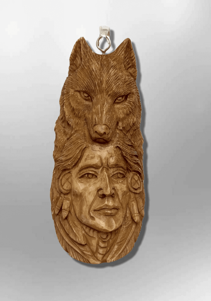 Handmade Bone Carved Indian Head with Wolf Head and Feather Long Oval Shape Curved Back No Paint Detailed Pendant - Kachina City