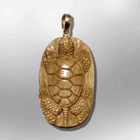 Bone Carved Handmade No Paint One Turtle with Shell Round Oval Flat Back Detailed Pendant - Kachina City