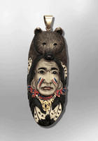 Handmade Bone Carved Painted Indian Head with Bear Head Feather Long Oval Shape Curved Back Detailed Pendant - Kachina City