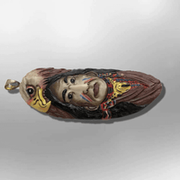 Handmade Bone Carved Painted Indian Head with Eagle Head Feather Long Oval Shape Curved Back Detailed Pendant - Kachina City