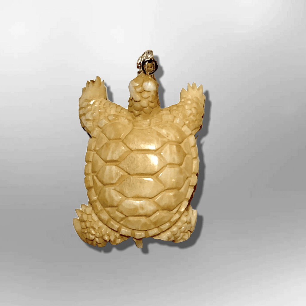 Bone Carved Handmade Small Turtle with Shell Shape No Paint Detailed Pendant - Kachina City