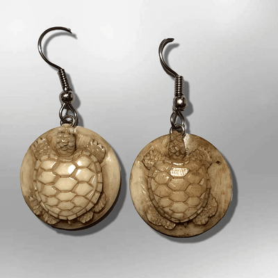Bone Carved Round Turtle with Shell No Paint Handmade Detailed Hook Dangle Earrings