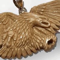 Handmade No Paint Bone Carved Flying Eagle Feathers Wide Flat Back Detailed Pendant - Kachina City