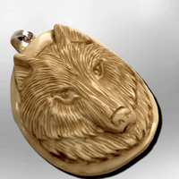 Handmade Bone Carved Wolf Head Round Oval Curved Back No Paint Detailed Pendant - Kachina City