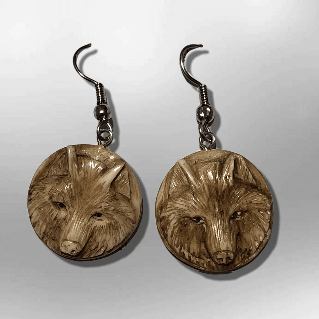 Bone Carved Round Wolf Head No Paint Handmade Detailed Hook Dangle Earrings - Kachina City