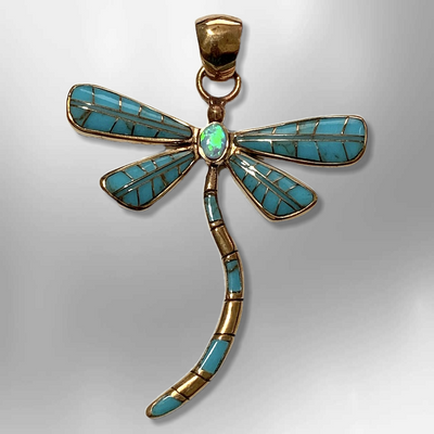 Bronze Handmade Inlay Different Stones Larger Dragonfly Pendant