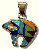 Bronze Handmade Inlay Multi-Stone Small Bear Pendant - Kachina City
