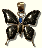 Bronze Handmade Inlay Different Stones Larger Butterfly Pendant - Kachina City