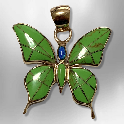 Bronze Handmade Inlay Different Stones Larger Butterfly Pendant