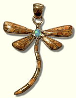 Bronze Handmade Inlay Different Stones Larger Dragonfly Pendant - Kachina City