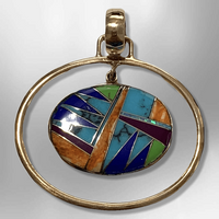 Bronze Handmade Inlay Multi-Stone Round Oval Hollow Breathable Pendant - Kachina City