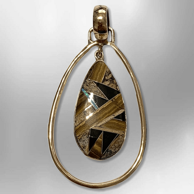 Bronze Handmade Inlay Different Stones Teardrop Hollow Breathable Pendant