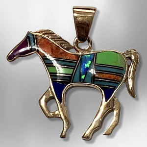 Bronze Handmade Inlay Different Stones Horse Shape Pendant - Kachina City
