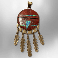 Bronze Handmade Inlay Different Stones Large Sun Face With Feathers Pendant - Kachina City