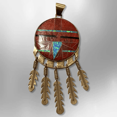 Bronze Handmade Inlay Different Stones Large Sun Face With Feathers Pendant