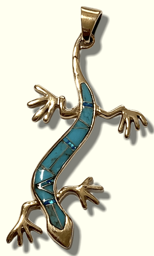 Bronze Handmade Inlay Multi-Stone Long Lizard Gecko Pendant - Kachina City