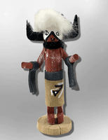 Navajo Handmade Painted Aspen Wood 3'' Inch Buffalo Kachina Doll - Kachina City