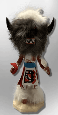 Handmade Painted Aspen Wood Six 6'' Inch Buffalo Kachina Doll