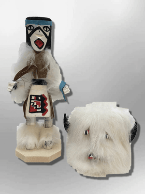 Navajo Handmade Painted Aspen Wood Six Inch Buffalo with Mask Kachina Doll