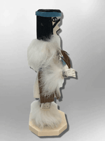 Navajo Handmade Painted Aspen Wood Six Inch Buffalo with Mask Kachina Doll - Kachina City