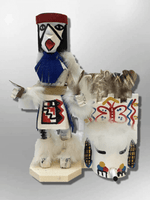 Navajo Handmade Painted Aspen Wood Six Inch Butterfly with Mask Kachina Doll - Kachina City