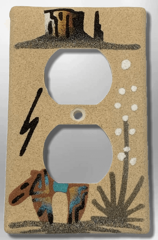 Native Handmade Navajo Sand Painting Canyon Bear Cactus Standard Duplex Outlet Plate Cover - Kachina City