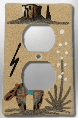 Native Handmade Navajo Sand Painting Canyon Bear Cactus Standard Duplex Outlet Plate Cover