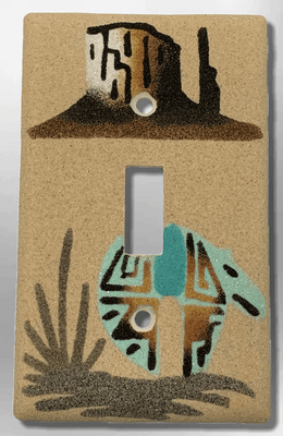 Native Handmade Navajo Sand Painting Canyon with Turquoise Bear 1 Standard Single Toggle Switch Plate Cover