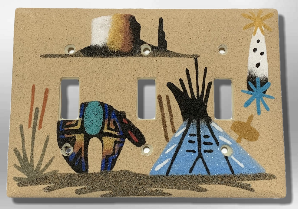 Navajo Handmade Sand Painting Feather Canyon with Teepee and Bear Triple Toggle Switch Plate Cover - Kachina City
