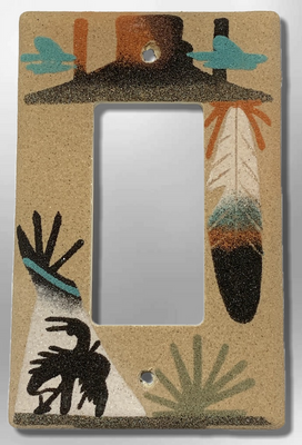 Native Navajo Handmade Sand Painting Feather Canyon Teepee End of the Trail 1 Standard Single Rocker Switch Plate Cover