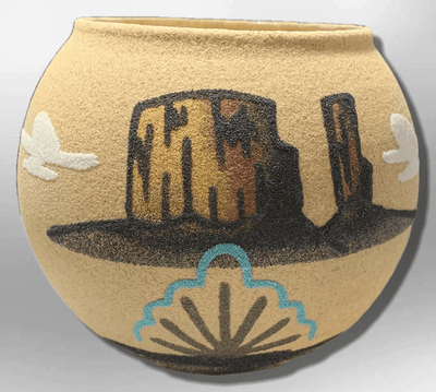 Handmade Native Navajo Sand Painting Canyon Cloud Round Ball Shape Glass Pottery